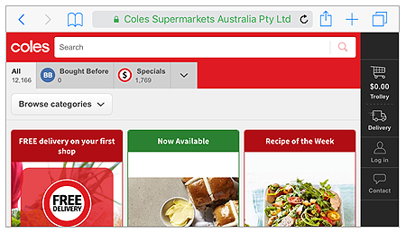 Screenshot of orientation of Coles mobile app in landscape mode