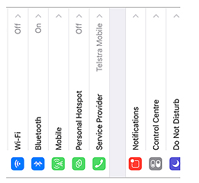 Screenshot of orientation of iPhone settings in landscape mode