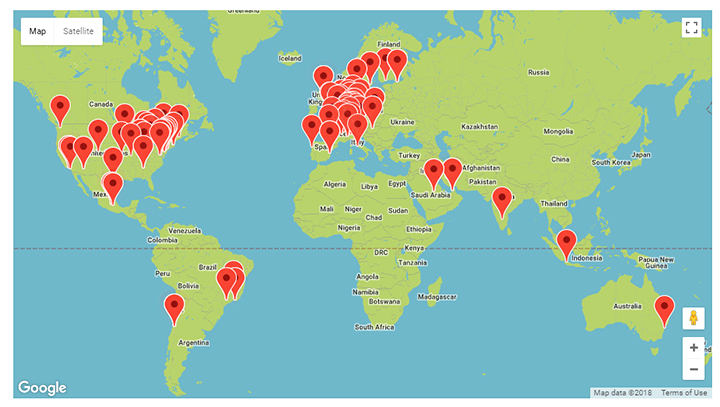 Map of World Usability Day events