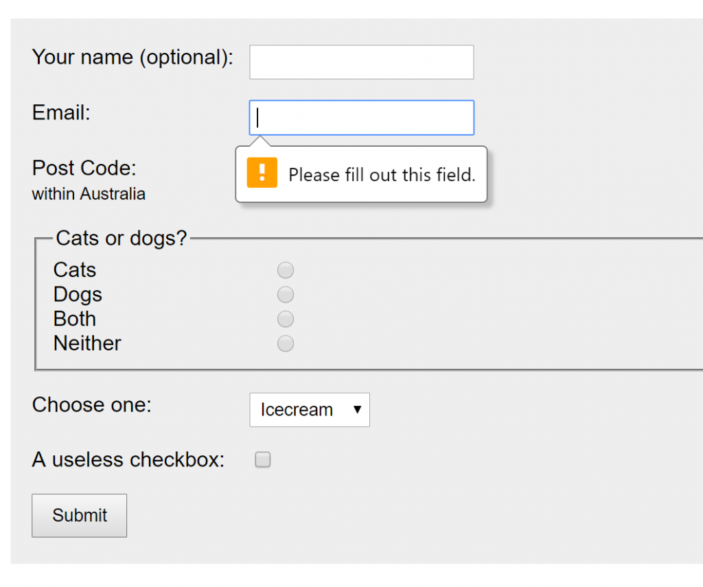 The form with an error message showing only on the email input, even though 4 of the 6 questions haven't been answered.